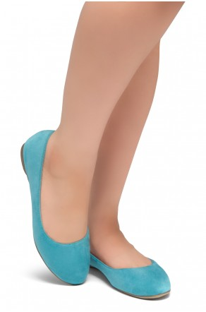 HerStyle Ever Memory -Almond Toe, No detail, Ballet Flat (Teal IM)