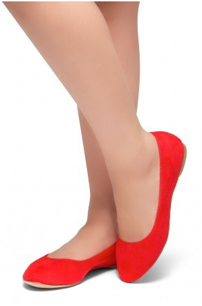 HerStyle Ever Memory -Almond Toe, No detail, Ballet Flat (Red)