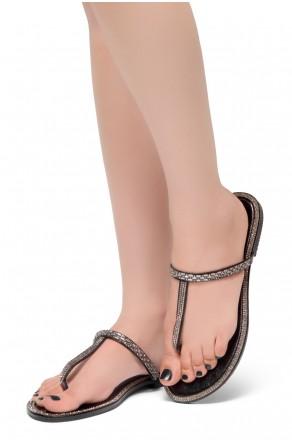 HerStyle Exotic-T Strap Thong Rhinestone Details Open Toe Slide Sandal (Black)