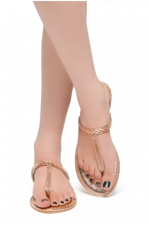 HerStyle Exotic-T Strap Thong Rhinestone Details Open Toe Slide Sandal (RoseGold)