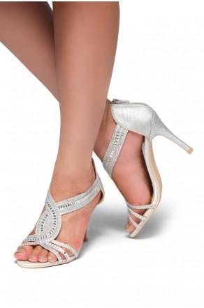 HerStyle Fanstina-Stiletto heel, jewel embellishments (Silver)