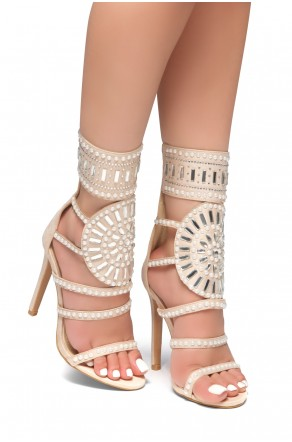 HerStyle Fashion Crowd stiletto heel, jeweled embellishments (Nude)