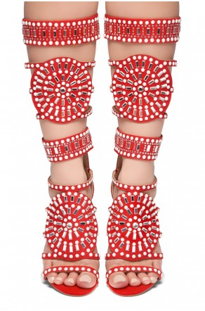 HerStyle FASHION CROWD HI- stiletto heel, jeweled embellishments (Red)