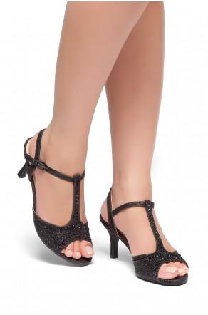 HerStyle Figarra-Stiletto heel, ankle strap, jeweled embellishments(Black)