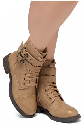 Women's Florence 2 Military Lace up, Double Buckled, Middle Calf Combat Boots(1721/Khaki)