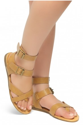 HerStyle Women's GABRIELLEH-Unique Simplistic Crisscross Straps Vamp with Dual Buckles Sandals (Cognac)