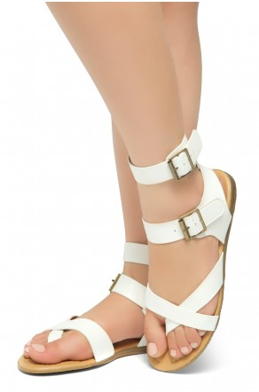 HerStyle Women's GABRIELLEH-Unique Simplistic Crisscross Straps Vamp with Dual Buckles Sandals (White)