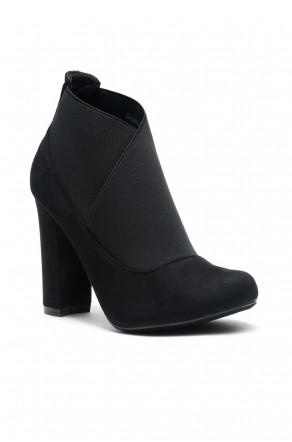Women's Black Gaella Chunky Heel Booties with elastic gusset wraparound detail at vamp