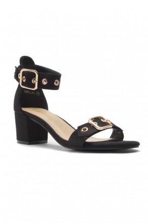 HerStyle Gaellaa Ankle Strap, Buckled, Open Toe, Block Heel (Black)