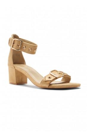 HerStyle Gaellaa Ankle Strap, Buckled, Open Toe, Block Heel (Tan)