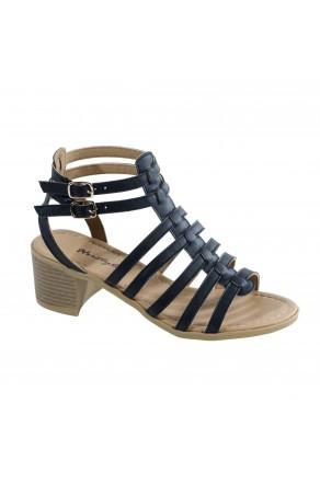Women's Black Giusti Manmade Gladiator-Style Heeled Sandal