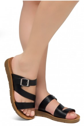 Shoe Land GORIE-Open Toe Buckled Slide-On Sandal (Black)