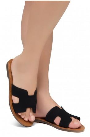 Shoe Land Greece- Lightweight Flat Easy Slide-On Sandals (1901/Black)