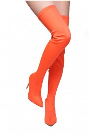 HerStyle Haute Moment-Pointed toe, stiletto heel, thigh high construction, side zipper closure (Orange)
