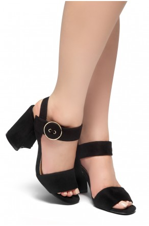 HerStyle HE GOT GAME- Ankle Strap Chunky Heel  (Black)