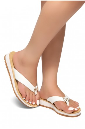 HerStyle Helsa- Thong Sandals With Low Wedge and Metallic Accent  (White)