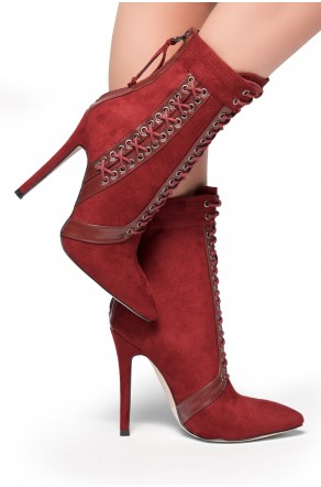 HerStyle Hot View-Pointed toe, Stiletto heel and eyelet detail(Burgundy)