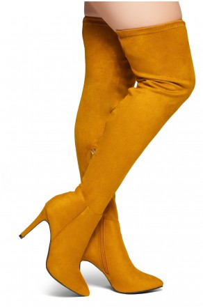 HerStyle Intecy-Pointed toe, stiletto heel, thigh high construction, rear lace tie (Cognac)