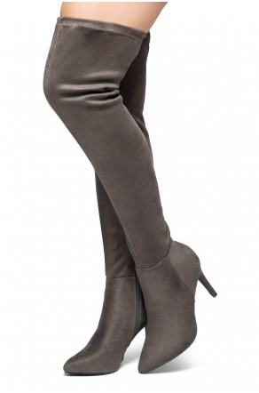 HerStyle Intecy-Pointed toe, stiletto heel, thigh high construction, rear lace tie (Grey)