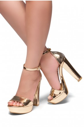 HerStyle Island-Chunky heel, Adjustable Ankle Strap (Black)