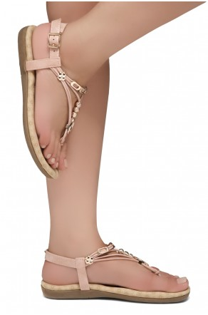 Shoe Land Issy-Manmade Women's Flat Sandal with Flirty Metallic Accents (Mauve)