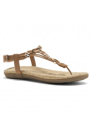 Shoe Land Issy-Manmade Women's Flat Sandal with Flirty Metallic Accents (Tan)