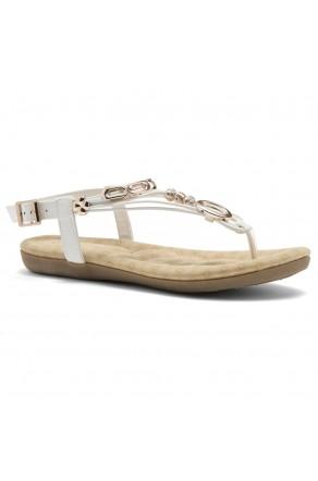 Shoe Land Issy-Manmade Women's Flat Sandal with Flirty Metallic Accents (White)
