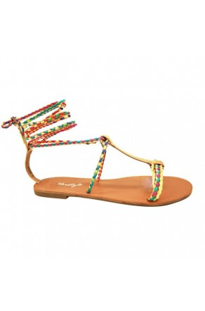 Women's GoldMulti Manmade Janenn Braided T-Strap Sandal with Knee-high Laces