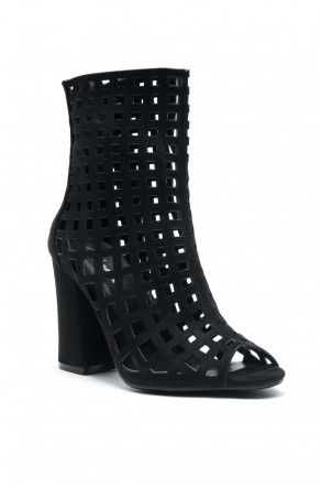 Women's Black Jerillan Chunky Heel Booties with elastic gusset wraparound detail at vamp