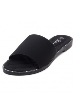 Shoe Land Joli Women's Open Toe Flat Sandals Slide Slip On Shoes (2022Black)