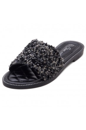 Shoe Land Joli Women's Open Toe Rhinestone Flat Sandals Glitter Slide Slip On Shoes (BlackSQ)