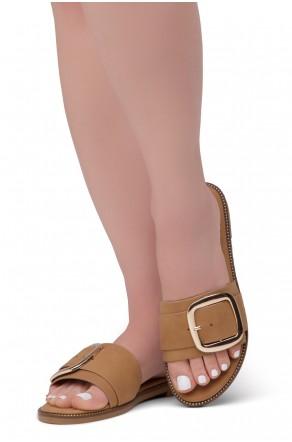 Shoe Land Joli Women's Open Toe Flat Sandals Slide Slip On Shoes (Camel)