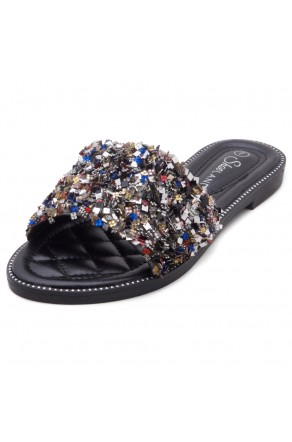 Shoe Land Joli Women's Open Toe Rhinestone Flat Sandals Glitter Slide Slip On Shoes (MultiSQ)
