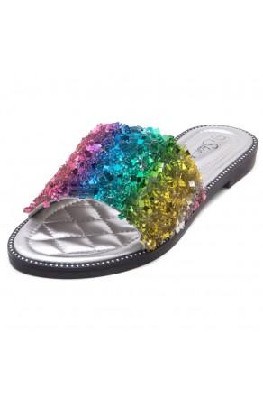 Shoe Land Joli Women's Open Toe Rhinestone Flat Sandals Glitter Slide Slip On Shoes (RainbowSQ)