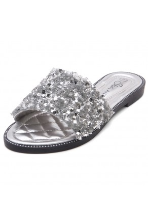 Shoe Land Joli Women's Open Toe Rhinestone Flat Sandals Glitter Slide Slip On Shoes (SilverSQ)