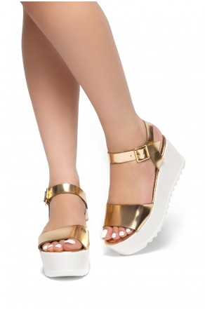 HerStyle  Women's Jolliee  Open Toe Ankle Strap platform Wedge (Rose Gold)