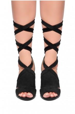 HerStyle - SL-Joyce-Chunky heel, ankle lace-up (Black)