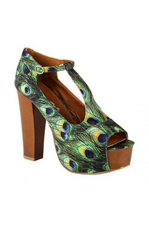 "Women's Green Blue Kaillee Manmade Chunky 5"" Heel Platform Sandals with Trendy Print"