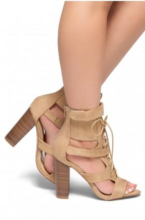HerStyle Karmina-Block heel, Sex booties (Camel)