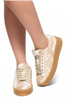 Women's  Platform Creeper Sneaker KATE (Beige)