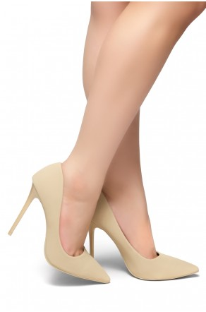 Herstyle Women's Katherina-High Heel with Lightly Pointed Toe Stiletto Heel (Beige)