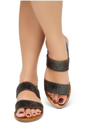 HerStyle Keetton-Rhinestone Details, Double-Band Vamp, Open Toe, Flat Sandals (Stone Black)