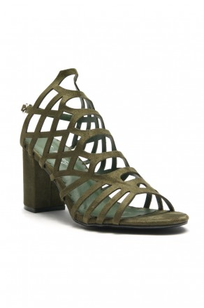 HerStyle Kesseey Laser cut dress sandal,  caged look, strappy style from vamp to ankle ,wrapped chunky heel (Olive)
