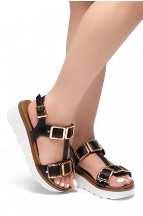 HerStyle Kimmie- Open Toe Buckle Decorative Vamp Platform Heel (Black)