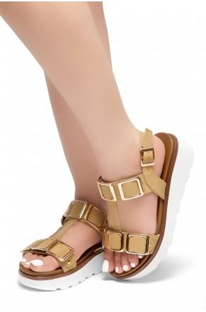 HerStyle Kimmie- Open Toe Buckle Decorative Vamp Platform Heel (Tan)
