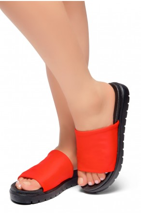 HerStyle Knock Comfort-Open Toe Slide Sandals (Red/Black)
