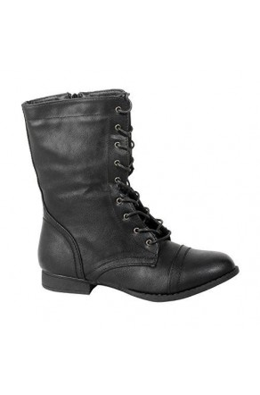 Women's Black Manmade Korraa Sturdy Mid-Calf Boot