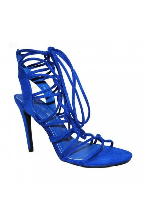 Women's Royal Blue Manmade Ladiee Lace-Up Heeled Sandal with Sueded Touches