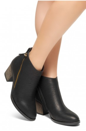 HerStyle Women's Lancast- Low Stacked Block Heel Almond Toe Casual Ankle Booties (Black)