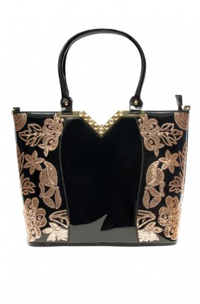 SLC-662119- High-end Patent Elegant Sequin Bag (Black)